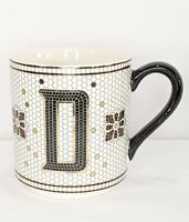 Anthropologie Margot Initial D Tile Coffee Mug Cup Monogram White/Black/Gold New