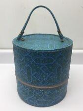 New listing Vintage 60's Geometric Mod Wig Case Hat Box Zippered Travel Case w/ Foam Scalp