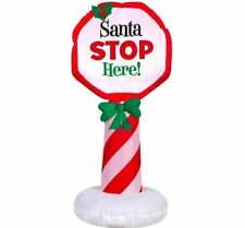 Gemmy Santa Stop Here 3ft 6in Tall LED Airblown Inflatable Lights Up, NEW