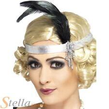 Ladies 1920s Silver Charleston Feather Headband Flapper Gangster 30s Fancy Dress