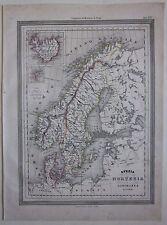1864 SVEZIA NORVEGIA DANIMARCA Vuillemin Guigoni Doyen map Sverige Norge Danmark