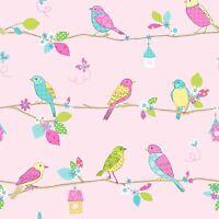 HOOPLA PRETTY BIRDS PINK 10m WALLPAPER NEW ROOM DECOR FREE P+P