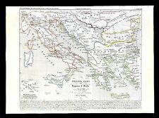 1849 Houze Map Ancient Greece Italy Serbia Bulgaria Rome Athens 774-900 Ad