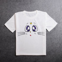 Anime Sailor Moon White Cat Cosplay T-shirt Summer Short Sleeve Tee Top