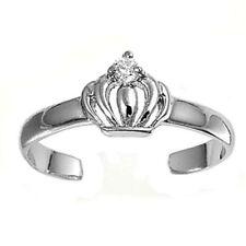 Zehenring Fußschmuck verstellbar Sterling Silber Weißer Zirkonia Krone 1