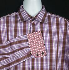 Robert Graham Shirt Men's Sz XL Long Sleeve Button Front Flip Cuff Cotton Plaid