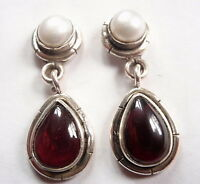 Garnet and Cultured Pearl 925 Sterling Silver Stud Earrings w/ Grooved Accents