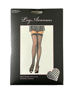 Leg Avenue Fishnet Stockings Lace Top Black One Size 90-160lbs Style 9027