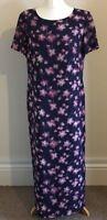 Jacques Vert Size 14 Ladies Purple Maxi Dress With Pink Floral Print