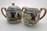 Vintage Japanese Klimax Hand Painted Porcelain |Lustre Sugar Bowl and Cream Jug
