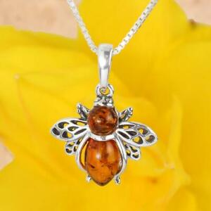 BEE PENDANT BALTIC AMBER STERLING SILVER HONEY BEE PENDANT NEW BOXED