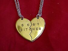US Seller GOLD Best Bitches BFF Heart Friendship Pendant Necklace