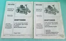 "2~SEARS CRAFTSMAN 30"" REAR ENGINE RIDING MOWER MODEL # 502.251250 MANUALS"