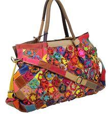 Señora verano bolso bandolera óptica vintage retro flores multicolor