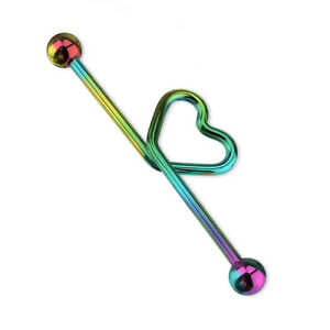 """Industrial Barbell Scaffolding Jewelry Heart 14G 1.5"""" 38MM Anodized Titanium"""