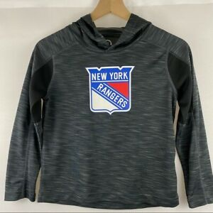 NY Rangers New York Gray & Black Athletic Hoodie Shirt Top Boy's Size Small 6/7