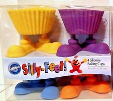 NEW SET of 4 WILTON Silicone Cupcake Silly Feet Baking CUPS Candy Treat Holders