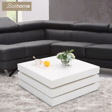 Coffee Table 3 Layer High Gloss Side/End Table Square Modern Living Room