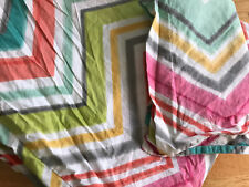Pottery Barn Teen Zig Zag Stripe Twin Duvet w Standard Sham Girls Multicolor