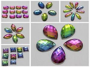 Craft DIY Rainbow Flatback Acrylic Sewing Rhinestone Button Sew on Various Shape