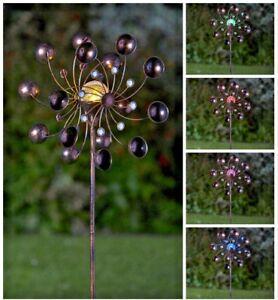 Solar Powered LED Bronze Wind Spinner Multi Colour Lights Garden Stake Decor