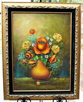 """Orig Oil, Floral, by Los Angeles California Artist Betty Wood, Framed, 18x24"""""""