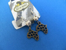 "New From South Africa Cast Brass Map Earrings From ""Out Of Africa"" A"