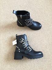 Zara Cuero Negro Tachonado Biker Botas al tobillo militares Correas de UK4 EU37 US6.5 #594