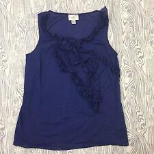 Ann Taylor LOFT Woman Small Ruffle Blouse Top Shirt Navy Sleeveless Cotton