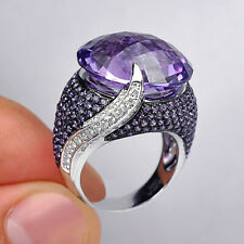 Gorgeous Amethyst 925 Silver Rings Anniversary for Women Jewelry Rings Size 6-10