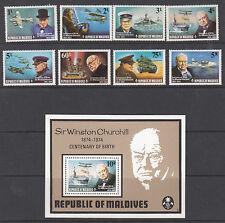 CHURCHILL :MALDIVE IS 1974 Churchill  set SG 535-42+MS543 MNH