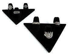 Two 3-Finger Ring Display Black Velvet Jewelry Showcase rings