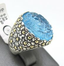 18k Yellow Gold & Sterling Silver Blue Topaz Flowers Engraved Ring Size 7