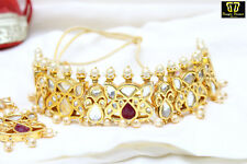 Indian Gold Plated Queen Choker Necklace Earring Set Bollywood Bridal Jewelry1