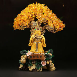 Topaz Wen Wealth Buddha Statue Lucky Tree Decoration Wine Cabinet Home Ornaments