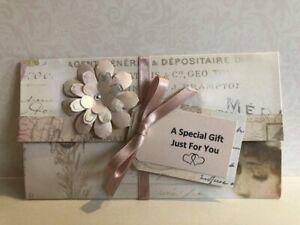 Handmade Personalised Birthday Gift Money Wallet Blush & Rose Gold Shabby Chic