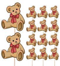 Teddy Bear Red Ribbon Party Food & Cup Cake Picks Decorations Toppers Baby