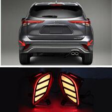 For Toyota Highlander 2020 2021 LED Rear Fog Light Tail Bumper Light Sets 2pcs