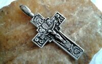 "VINTAGE STERLING SILVER ""925"" ORTHODOX SKULL CRUCIFIX HOLY FACE & MOTHER OF GOD"