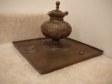 ANTIQUE ORIENTAL STYLE BRASS INKWELL FLORAL INSECT BEETLE BUTTERFLY CATERPILLAR