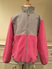 THE NORTH FACE DENALI Pink Gray Girls Fleece Hooded Jacket Size M (10/12)