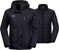 Wantdo Women's 3 in 1 Waterproof Ski Jacket Windproof Winter Snow Coat Snowboard