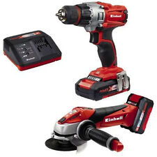 Einhell Te-tk 18 Li Kit Power X-change 18v Cordless Drill Driver & Angle Grinder