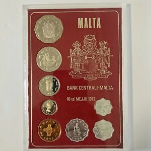 1972 MALTA PROOF SET OF 8 COINS with ORIGINAL COVER CASE .