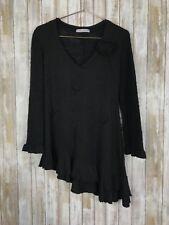 ZONE BLEUE Paris Artsy Mixed Knit Black Bohemian Designer Sweater Tunic Top M L
