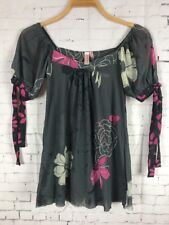 SWEET PEA BLOUSE SMALL MESH GRAY FLORAL STRETCHY TOP BY STACY FRATI (C28)