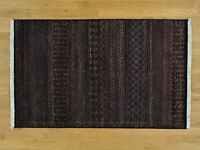 """3'9""""x6' Pure Wool Modern Gabbeh Tone on Tone Hand Knotted Oriental Rug G28821"""