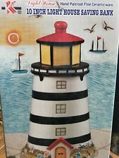 Light House 10 Inches Saving Bank - Hand Painted Fine Ceramicware Preowned