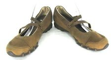Skechers Mary Jane Shoes Sz 8 Brown Distressed Leather Suede Flats Loafer 21571