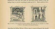 ANTIQUE FARMER CORN TRESHING BAKER BAKING BREAD WOOD OVEN SMALL MINIATURE PRINT